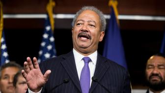 UNITED STATES - NOVEMBER 13: Rep. Chaka Fattah, D-Pa., speaks as House Democrats hold a news conference to call for presidential action on immigration on Thursday, Nov. 13, 2014. (Photo By Bill Clark/CQ Roll Call)