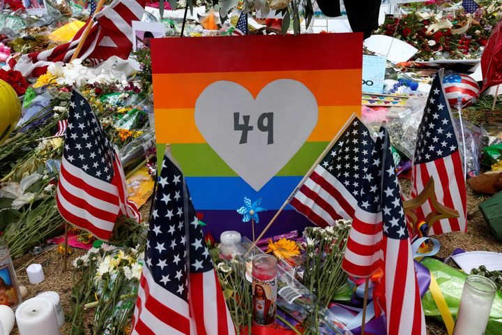 A sign with the number 49 on it is pictured as part of a makeshift memorial following the Pulse night club shootings in Orlan
