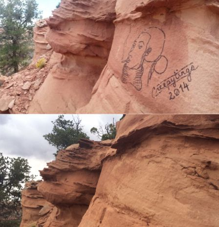 Federal authorities shared before and after photos of the protected rock formations bearing her handiwork.