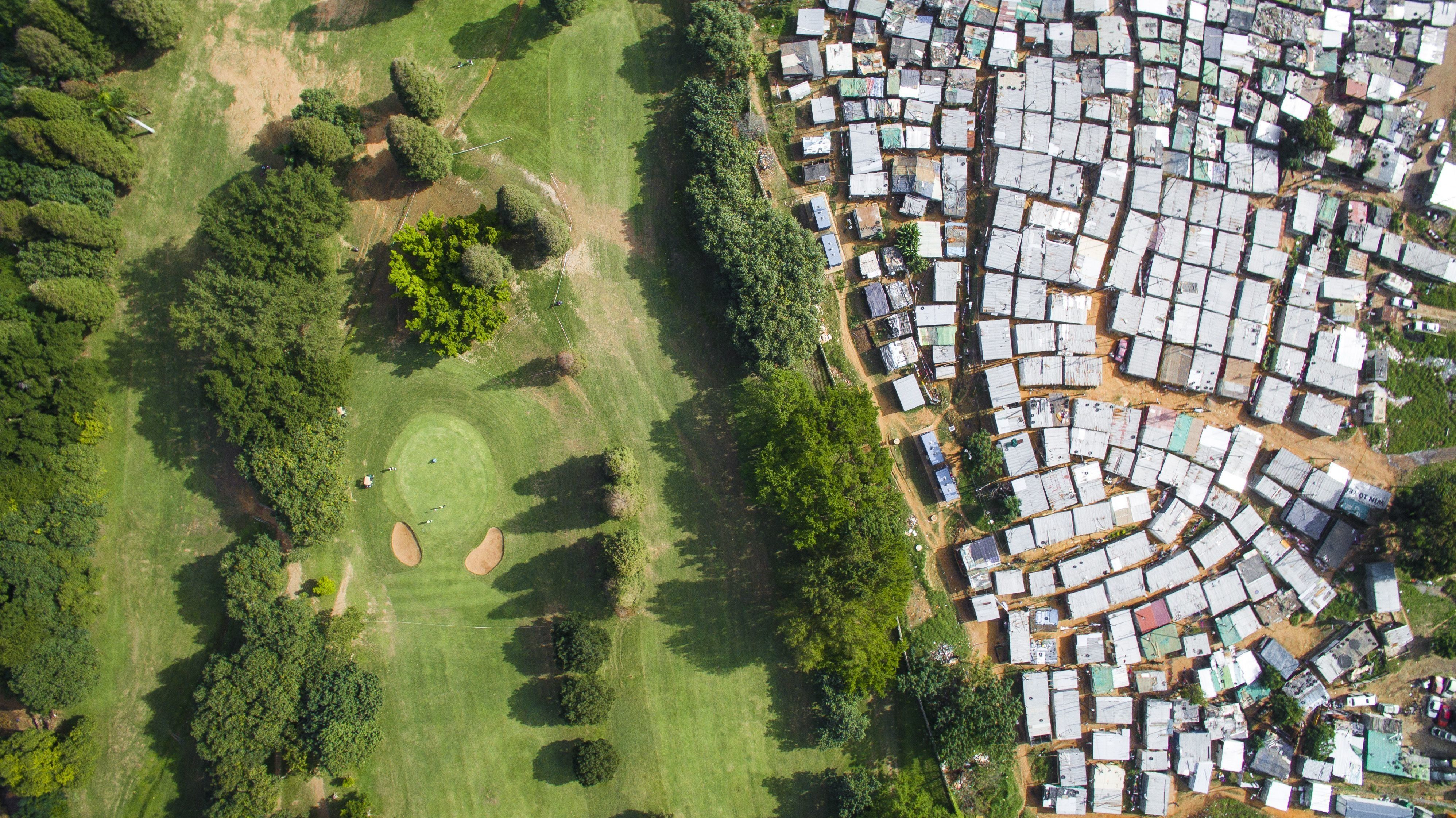 "Photographer Johnny Miller's ""Unequal Scenes"" shows wealth discrepancy from above."