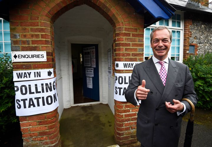 Nigel Farage, the leader of the United Kingdom Independence Party, leaves a polling station after voting in the EU referendum