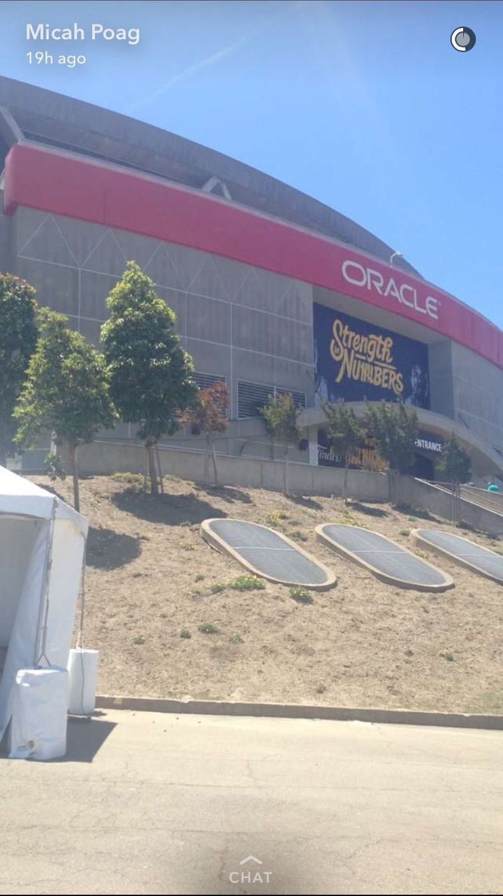 Micah Poag cases Oracle Arena before trying to sneak in with fake press pass.