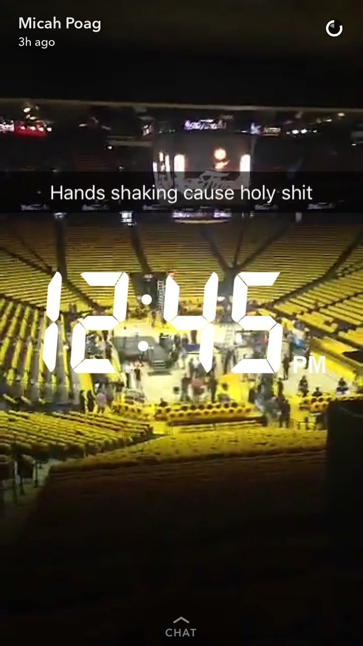 Micah Poag gets into Oracle Arena hours before tip-off.