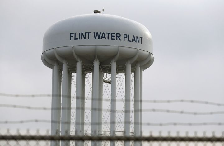 The top of the Flint Water Plant tower is seen in Flint, Michigan February 7, 2016. (REUTERS/Rebecca Cook/Files)