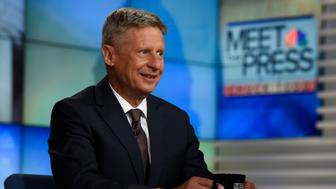 MEET THE PRESS -- Pictured: (l-r)  Former New Mexico Gov. Gary Johnson and Presidential Nominee for the Libertarian Party appears on 'Meet the Press' in Washington, D.C., Sunday June 6, 2016.  (Photo by: William B. Plowman/NBC/NBC NewsWire via Getty Images)