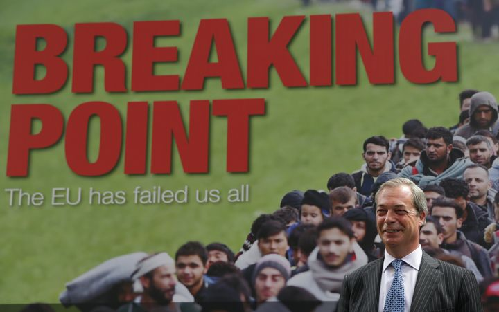 Farage addresses the media on June 16 during a national poster launch campaign ahead of the EU referendum.