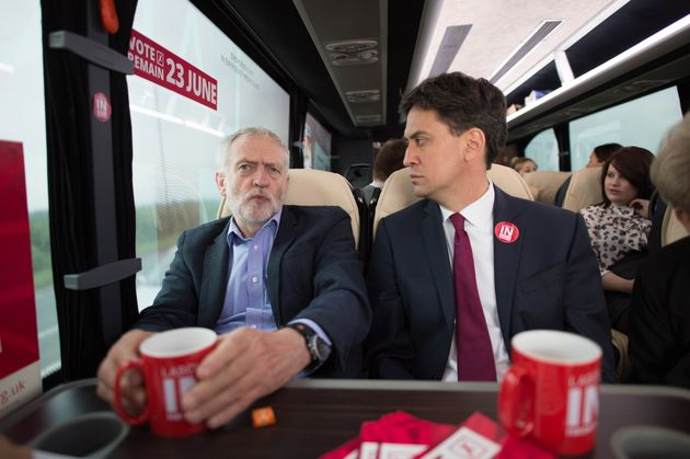 Jeremy Corbyn and Ed Miliband campaign