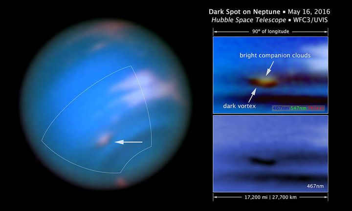 """The new """"dark vortex"""" is seen in a full visible-light image at left near a patch of bright clouds. The full-color image at to"""