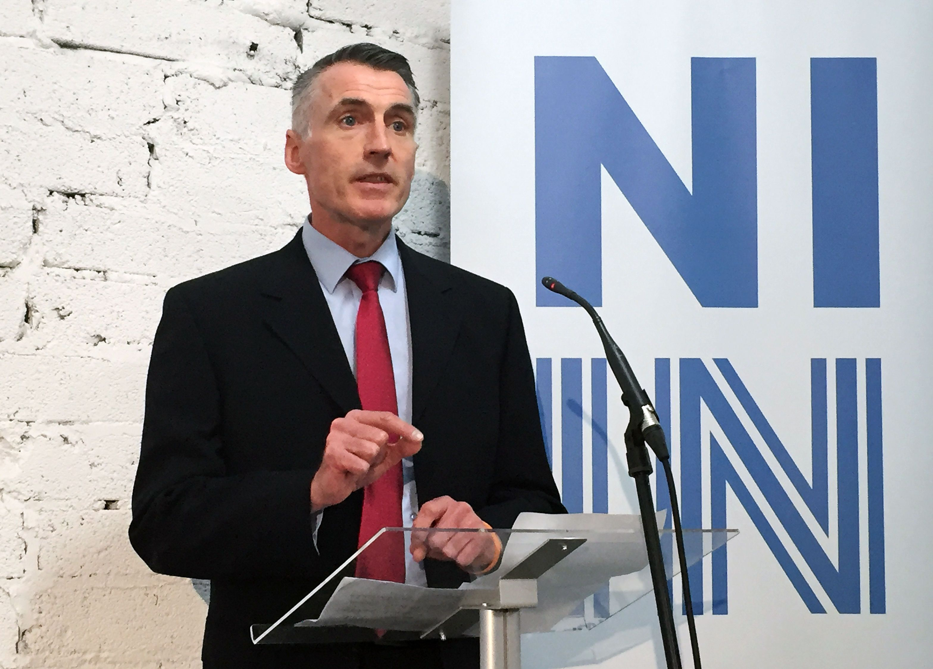 BEST QUALITY AVAILABLEDeclan Kearney, Sinn Fein's national chairman speaking at the Northern Ireland Stronger In EU campaign launch event at College St in Belfast.