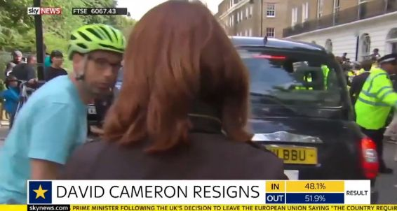 The moment gets confronted by a passing cyclist, which was being streamed live on Sky
