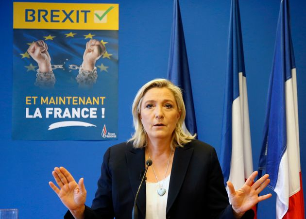 Marine Le Pen, France's far-right National Front political party leader, speaks during a news conference...