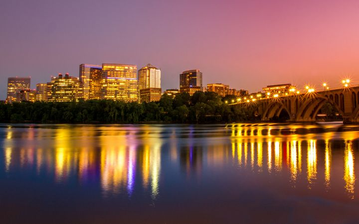View of the skyline of Arlington, Virginia, at night.