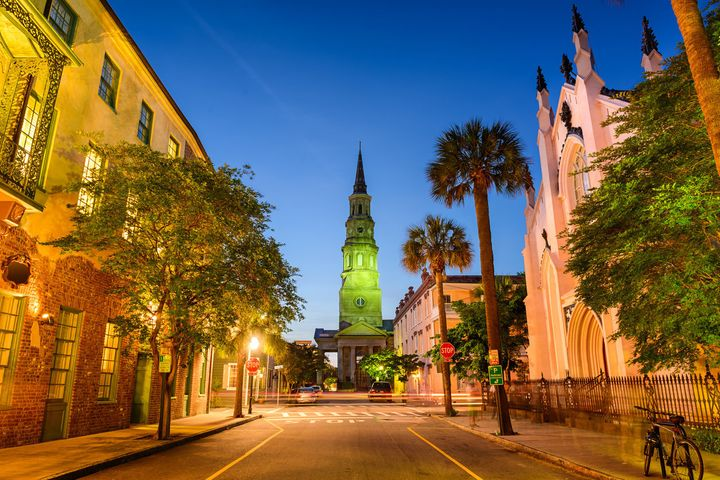 Charleston Street view and church.
