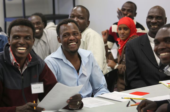 Refugees learn employment skills during a job readiness class at the International Rescue Committee center in Tucson, Ar
