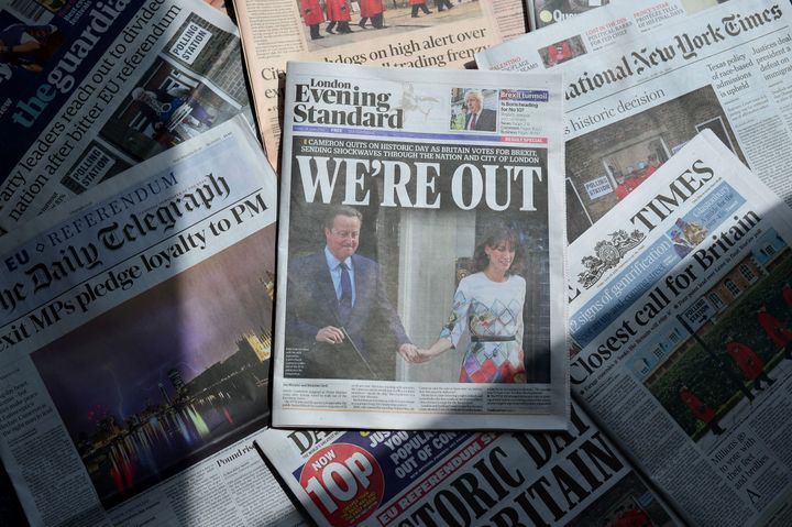 An arrangement of newspapers pictured in London on June 24, 2016, as an illustration, shows the front page of the London Even