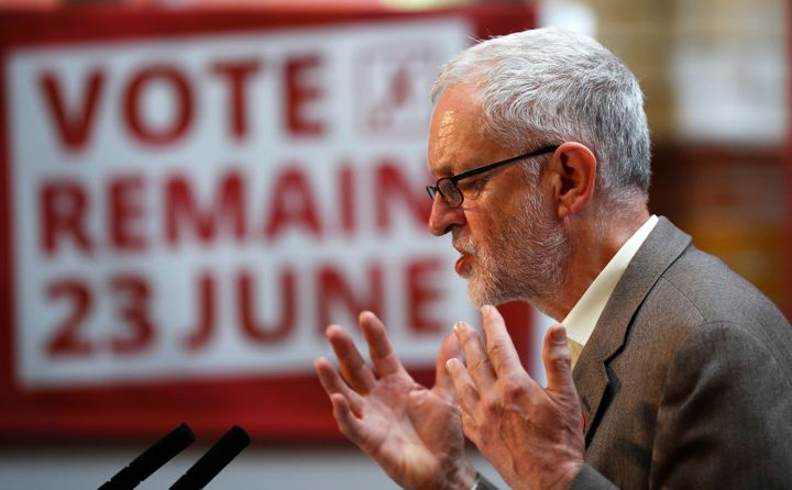 "Jeremy Corbyn, the leader of Britain's opposition Labour Party, backed the ""remain"" campaign in the referendum. Now his polit"