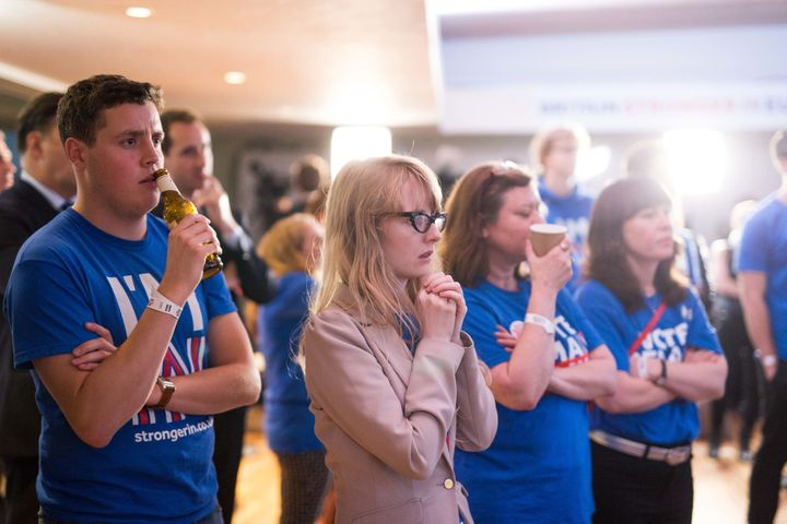 "Supporters of the ""remain"" campaign watch the results of the EU referendum. It will likely take months for Britain to get a n"
