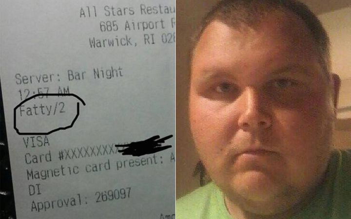 """Dillon Harper, 24, said he received a receipt with the word """"fatty"""" from a restaurant in Warwick, Rhode Island."""