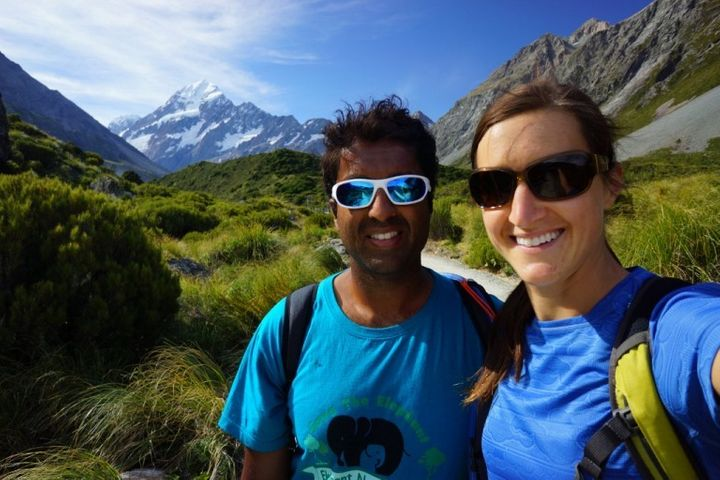 Tramping around New Zealand with Alison (my lovely and talented wife).