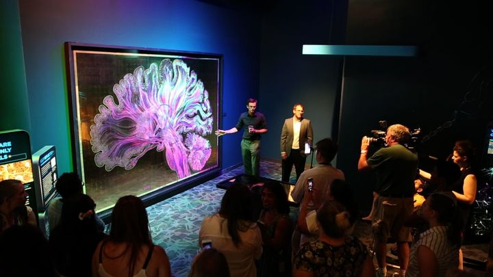 Artists Greg Dunn and Brian Edwards present their work at the Franklin Institute in Philadelphia.