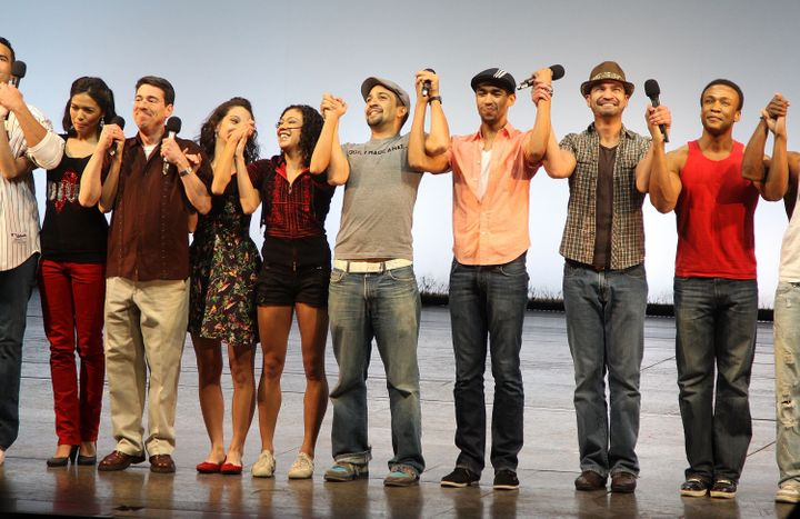 "Lin-Manuel Miranda and the cast of ""In The Heights"" perform together in 2010."