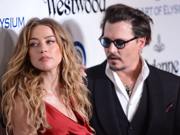 Amber Heard and Johnny Depp on January 9, 2016, in Culver City, California.