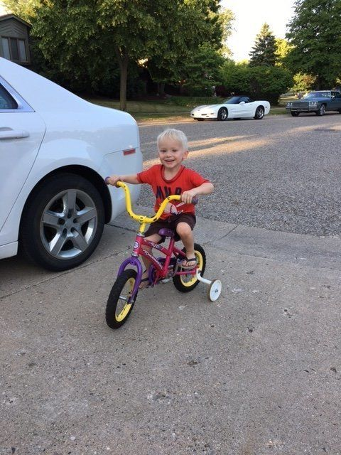 Erin Farias' 3-year-old son, Andres, adores his pink bike.
