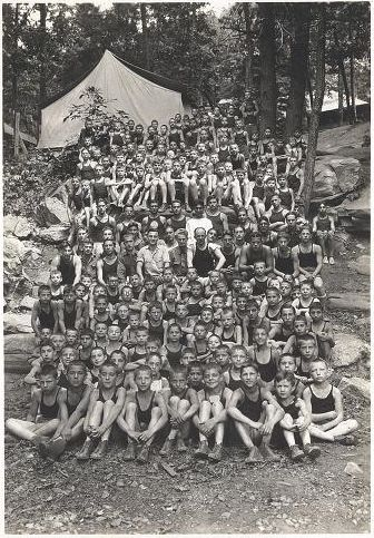 Boys at Hebrew Orphan Asylum Camp from the Records of the Hebrew Orphan Asylum of the City of New York.