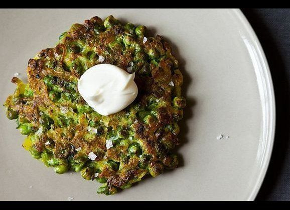 A wonderful springtime pancake full of green vegetables, herbs and earthy flavor. -- broccolirose
