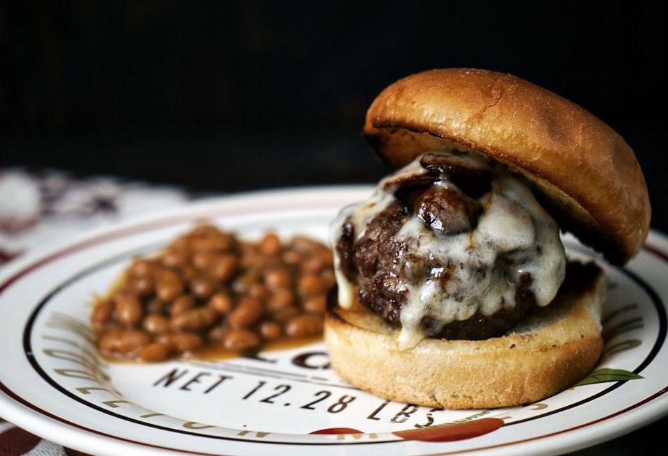 "<strong>Get the <a href=""http://passthesushi.com/swiss-mushroom-burgers/"" target=""_blank"">Swiss Mushroom Burgers recipe</a> b"
