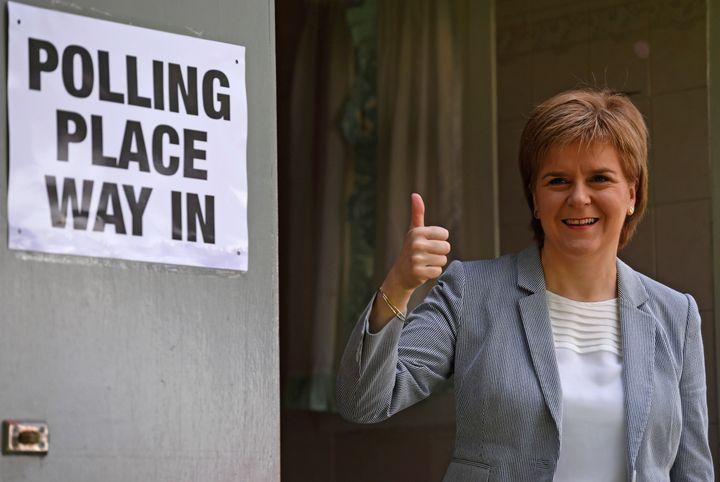 Scotland's First Minister Nicola Sturgeon votesin the EU referendum, at Broomhouse Community Hall in Glasgow, Scotland,