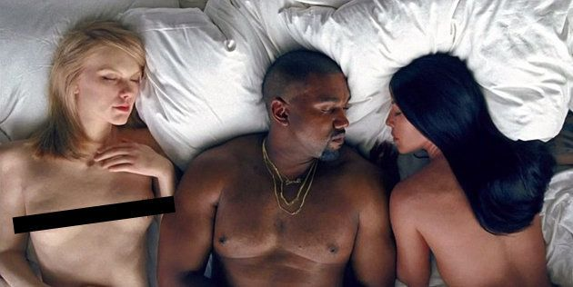 A naked Taylor Swift lookalike lies in bed with Kanye West and Kim Kardashian in his new