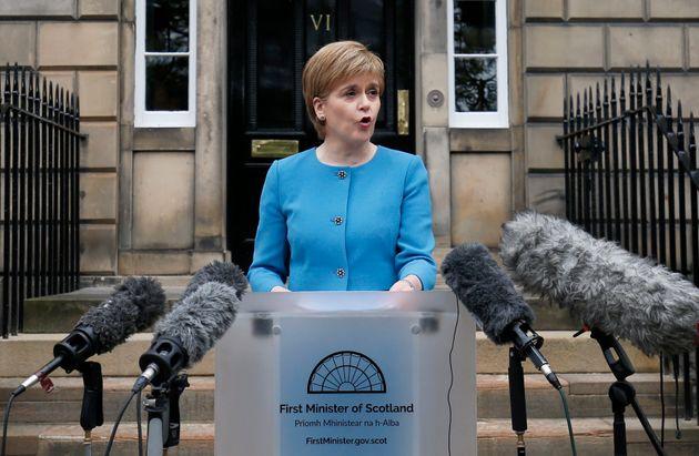 Sturgeon speaks to mediaoutside Bute House, Edinburgh, following an emergency Scottish cabinet