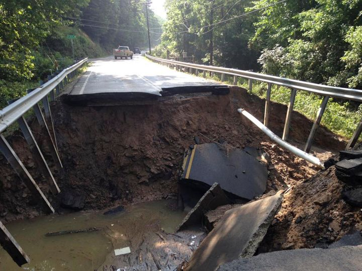 The West Virginia State Highway 4 along the Elk River shows extensive damage after flooding.