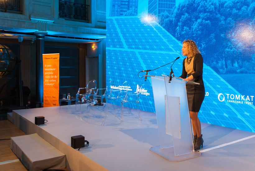 Amplifier CEO and Founder Allison Duncan addresses nearly 150 global investment and financial professionals in Paris on Dec.