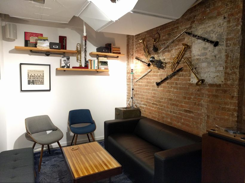 A sweetvintage, DIY, handmade music room at a Knotel in Manhattan.