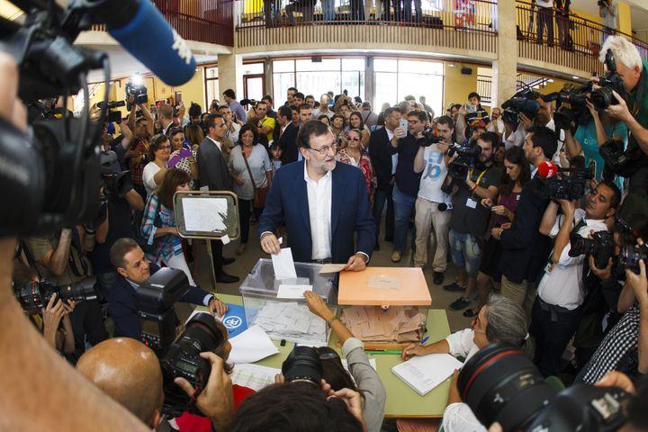 Mariano Rajoy, Spain's acting Prime Minister, casts his ballot in the Spanish general election in Madrid, Spain, on Sunday, J