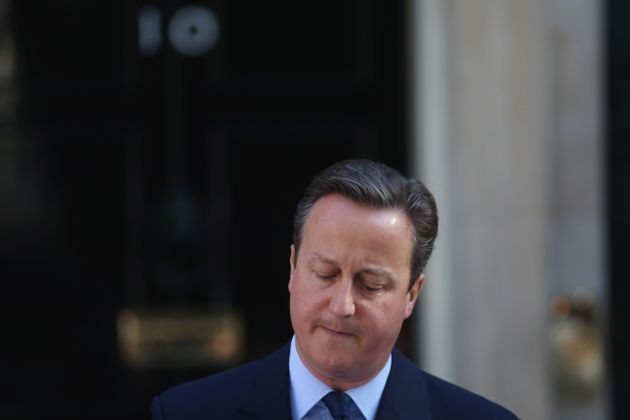 British Prime Minister David Cameron resigns on the steps of 10 Downing Street on June 24, 2016 in London,...