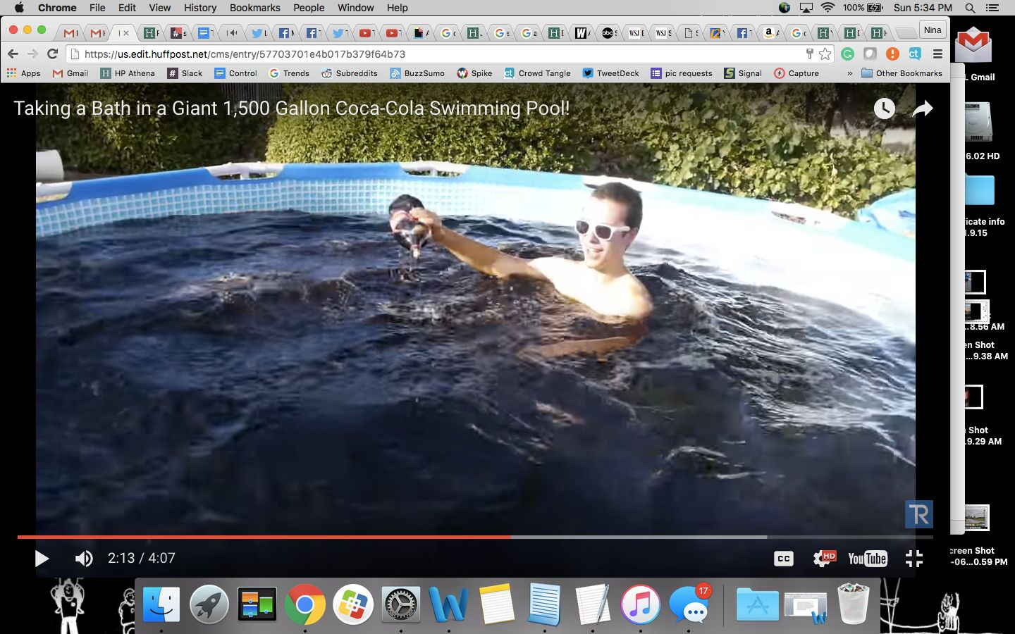Ryan soaked in the Coke-filled pool for 20 minutes, his videographer said.