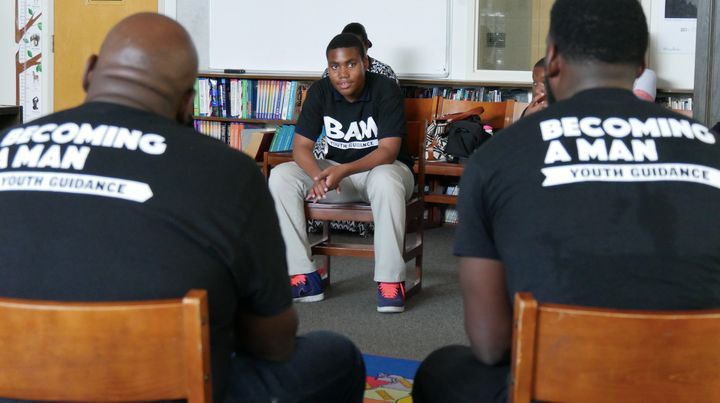 Students participate in a group session at Jordan Elementary School in Chicago.