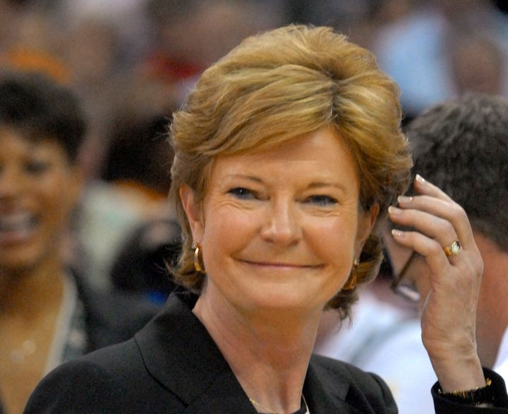Pat Summitt smiles after the Lady Vols defeated Rutgers for their seventh NCAA women's basketball champio