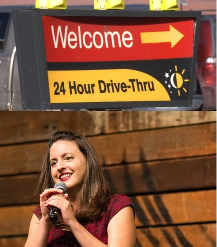 Description: Two photos.  The above photo is a drive-thru sign at a fast food restaurant.  The photo below is of co