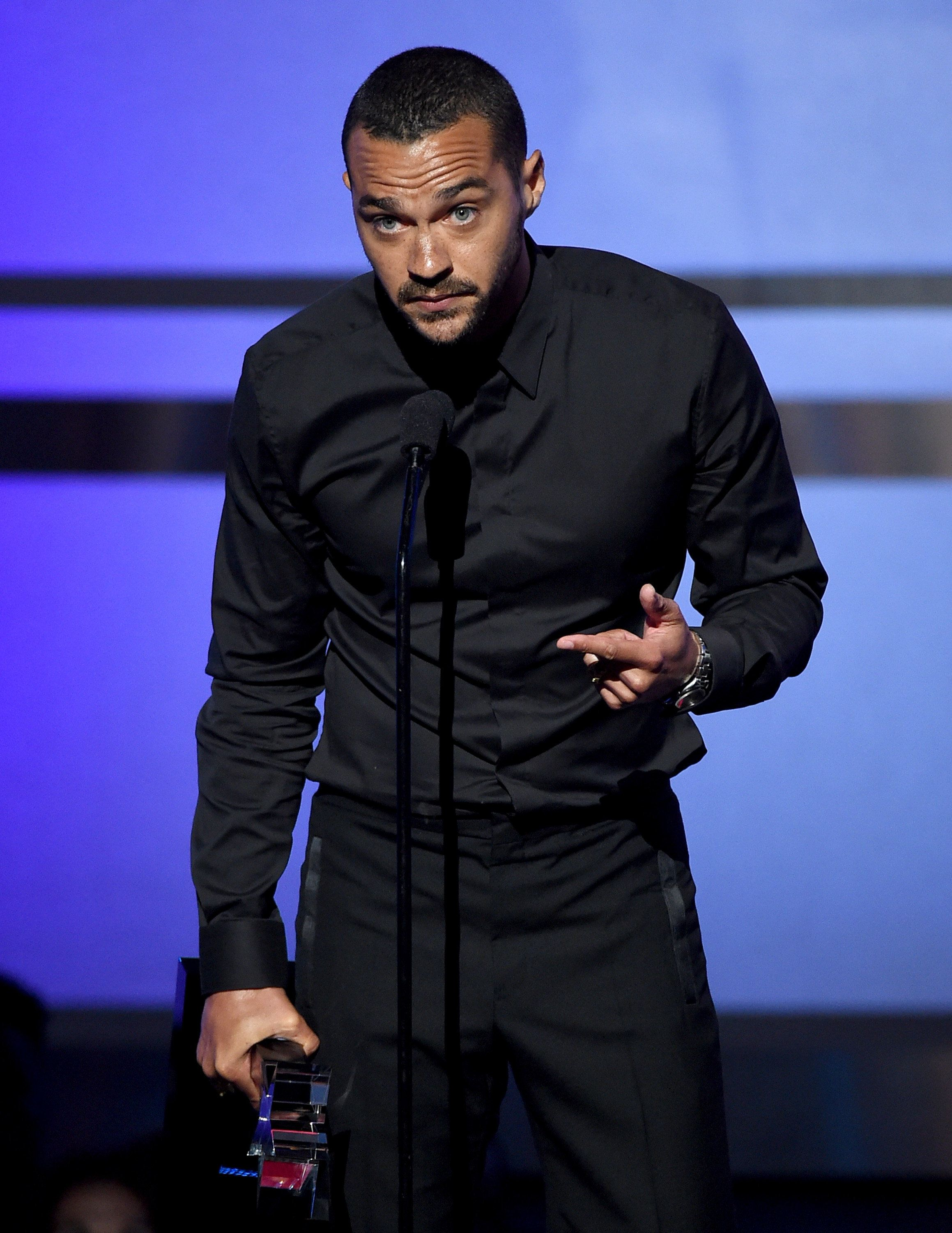 LOS ANGELES, CA - JUNE 26:  Honoree Jesse Williams accepts the Humanitarian Award onstage during the 2016 BET Awards at the Microsoft Theater on June 26, 2016 in Los Angeles, California.  (Photo by Kevin Winter/BET/Getty Images for BET)