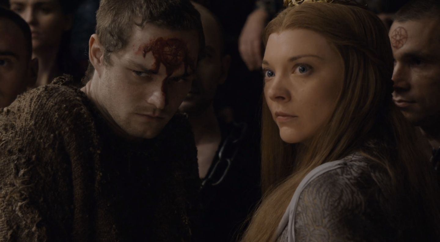 "Finn Jones as Loras and Natalie Dormer as Margaery in the Season 6 finale of ""Game of Thrones."""
