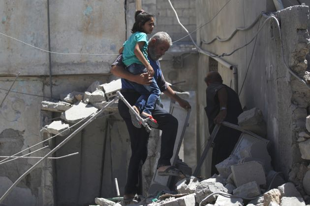 As Syrian and Russian airstrikes hit towns in rebel-controlled areas, children suffer injuries, loss...