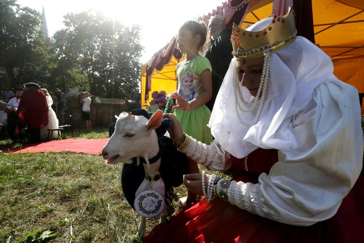 This goat, who didn't win, is consoled by a woman in medieval attire.