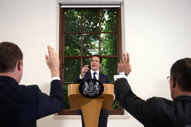 George Osborne speaks at The Treasury where he moved to try to calm market turmoil triggered by the pro-Brexit