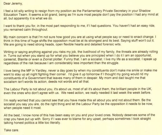 The letter sent by Phillips to Corbyn this