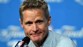 CLEVELAND, OH - JUNE 16:  Head coach Steve Kerr of the Golden State Warriors speaks to the media after being defeated by the Cleveland Cavaliers in Game 6 of the 2016 NBA Finals at Quicken Loans Arena on June 16, 2016 in Cleveland, Ohio. The Cavaliers defeated the Warriors 115-101. NOTE TO USER: User expressly acknowledges and agrees that, by downloading and or using this photograph, User is consenting to the terms and conditions of the Getty Images License Agreement.  (Photo by Jason Miller/Getty Images)