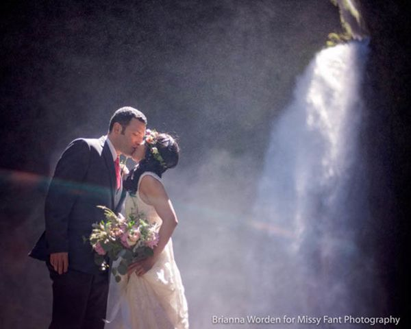 """""""My second shooter Brianna and I captured this elopement at Wahclella Falls. Tricia and Steve came out from the East Coast to"""